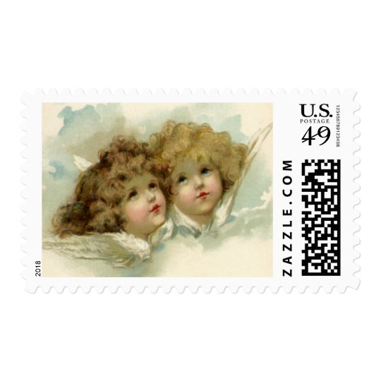Vintage Christmas, Victorian Angels in the Clouds Postage