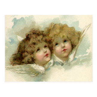 Vintage Christmas, Victorian Angels in the Clouds Postcard