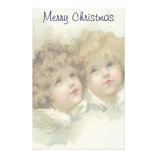 Vintage Christmas, Victorian Angels in the Clouds Stationery