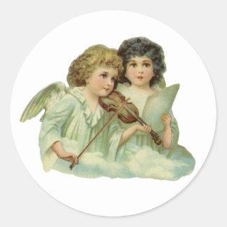 Vintage Christmas, Victorian Angels Music Violin Classic Round Sticker