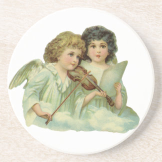 Vintage Christmas, Victorian Angels Music Violin Drink Coaster