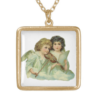 Vintage Christmas, Victorian Angels Music Violin Gold Plated Necklace