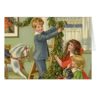 Vintage Christmas, Victorian Children Decorating Greeting Cards