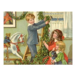 Vintage Christmas Victorian Children Decorating Announcements