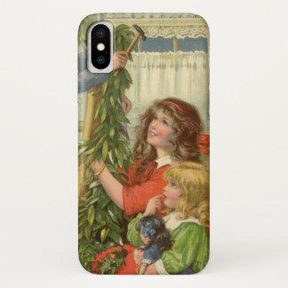 Vintage Christmas, Victorian Children Decorating iPhone X Case