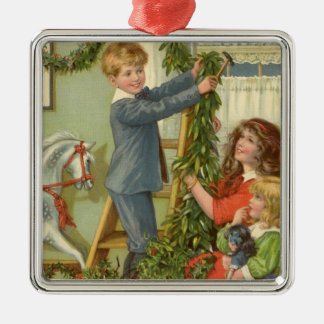 Vintage Christmas, Victorian Children Decorating Metal Ornament