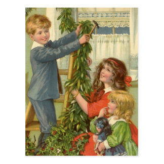 Vintage Christmas, Victorian Children Decorating Post Card