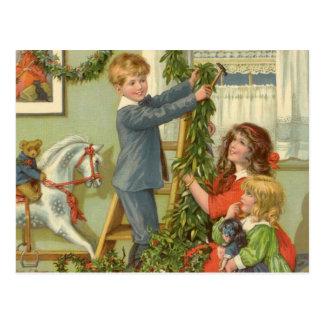 Vintage Christmas, Victorian Children Decorating Postcard