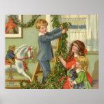 Vintage Christmas, Victorian Children Decorating Poster