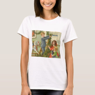 Vintage Christmas, Victorian Children Decorating T-Shirt