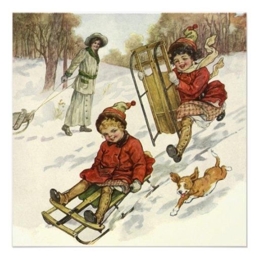 Vintage Christmas, Victorian Children Party Custom Invitations
