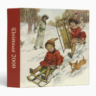 Vintage Christmas, Victorian Children Sled in Snow 3 Ring Binder