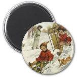 Vintage Christmas, Victorian Children Sled in Snow 2 Inch Round Magnet
