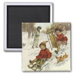 Vintage Christmas, Victorian Children Sled in Snow 2 Inch Square Magnet