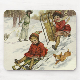 Vintage Christmas, Victorian Children Sled in Snow Mouse Pad