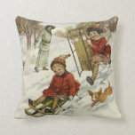 Vintage Christmas, Victorian Children Sled in Snow Throw Pillow