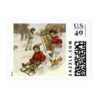 Vintage Christmas, Victorian Children Sled in Snow Postage