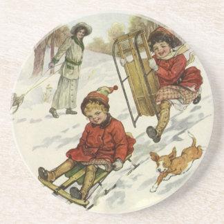 Vintage Christmas, Victorian Children Sled in Snow Sandstone Coaster
