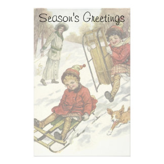 Vintage Christmas, Victorian Children Sled in Snow Stationery