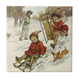 Vintage Christmas, Victorian Children Sled in Snow Small Square Tile