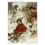 Vintage Christmas, Victorian Children Sledding Cards