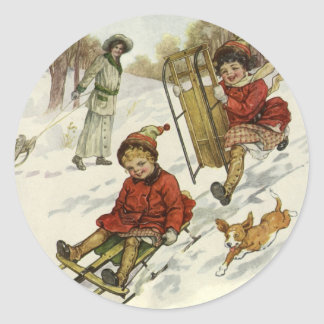 Vintage Christmas, Victorian Children Sledding Dog Classic Round Sticker