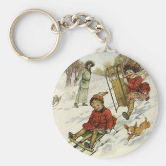 Vintage Christmas, Victorian Children Sledding Dog Keychain