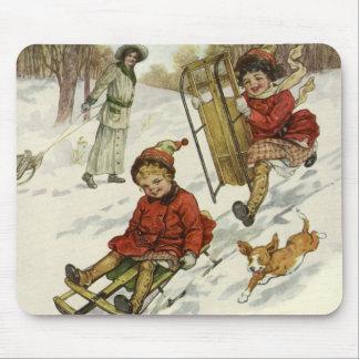 Vintage Christmas, Victorian Children Sledding Dog Mouse Pad