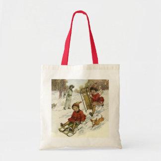 Vintage Christmas, Victorian Children Sledding Dog Tote Bag