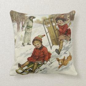 Vintage Christmas, Victorian Children Sledding Throw Pillow