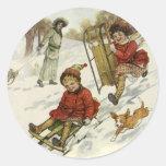 Vintage Christmas, Victorian Children Sledding Round Sticker