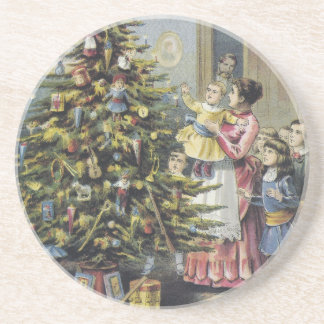 Vintage Christmas, Victorian Family Around Tree Drink Coaster