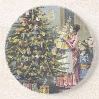 Vintage Christmas, Victorian Family Around Tree Drink Coaster