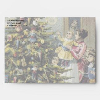 Vintage Christmas, Victorian Family Around Tree Envelope
