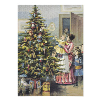 Vintage Christmas Victorian Family Around Tree Card