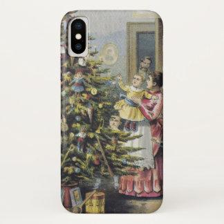 Vintage Christmas, Victorian Family Around Tree iPhone X Case