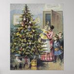 Vintage Christmas, Victorian Family Around Tree Poster