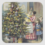 Vintage Christmas, Victorian Family Around Tree Square Sticker