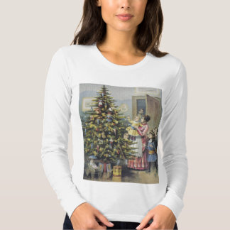Vintage Christmas, Victorian Family Around Tree T-Shirt