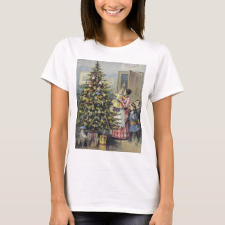 Vintage Christmas, Victorian Family Around Tree T-Shirt