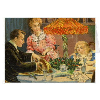 Vintage Christmas Victorian Family Dinner Card
