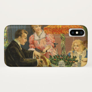 Vintage Christmas, Victorian Family Dinner iPhone X Case