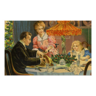 Vintage Christmas, Victorian Family Dinner Poster