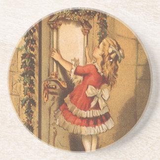Vintage Christmas Victorian Girl Hanging a Garland Coaster