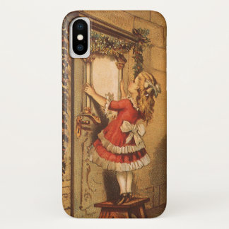 Vintage Christmas Victorian Girl Hanging a Garland iPhone X Case