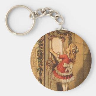 Vintage Christmas Victorian Girl Hanging a Garland Basic Round Button Keychain