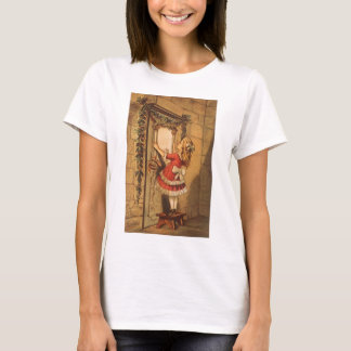 Vintage Christmas Victorian Girl Hanging a Garland T-Shirt