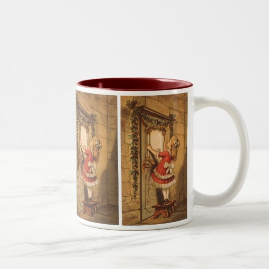 Vintage Christmas Victorian Girl Hanging a Garland Two-Tone Coffee Mug