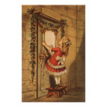 Vintage Christmas, Victorian Girl Hanging Garland Posters