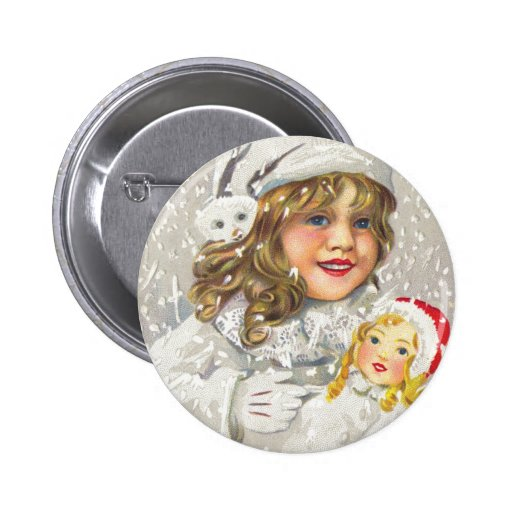 Vintage Christmas Victorian Girl with Doll in Snow Button